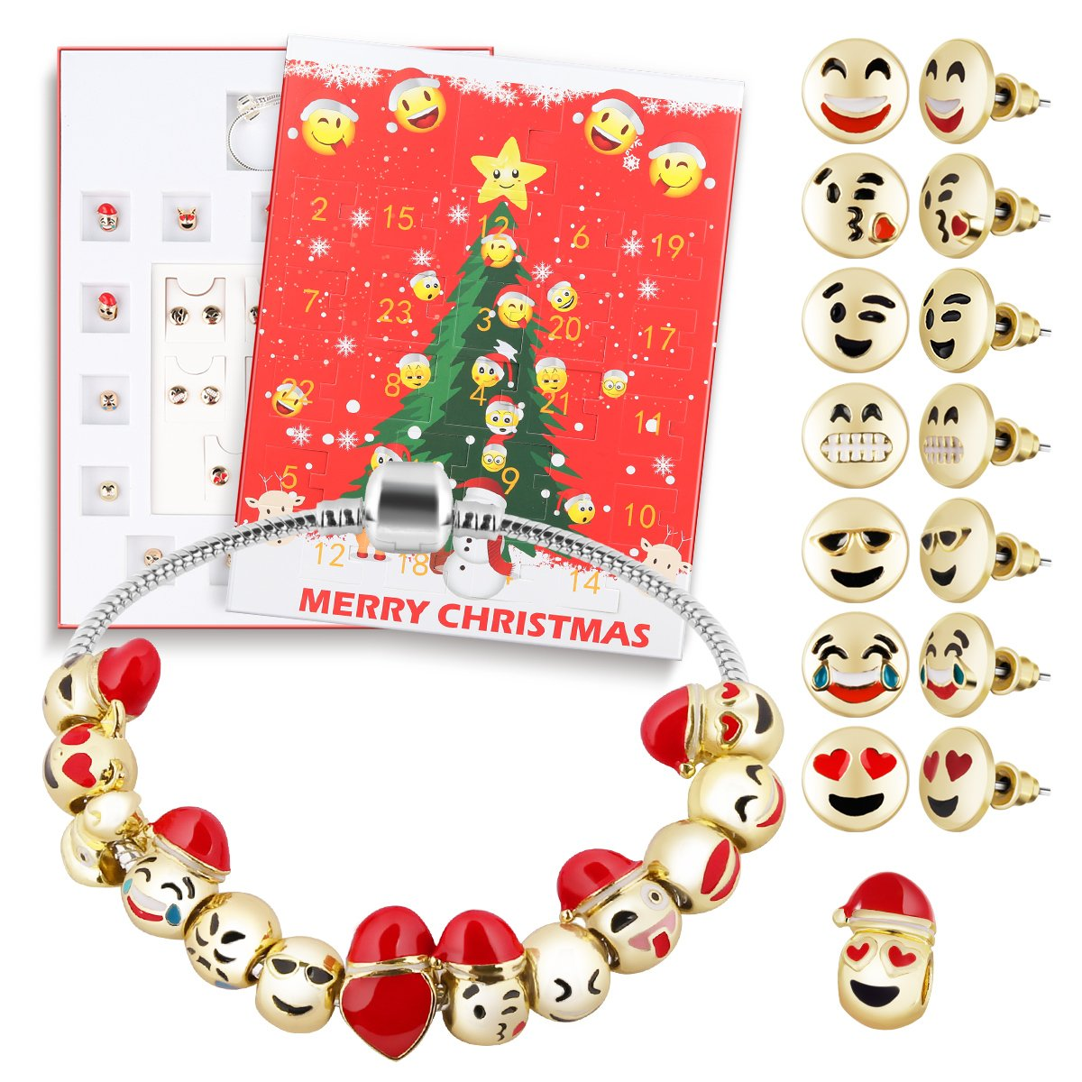 D-FantiX Christmas Countdown Calendar 2018 Women Girls DIY Jewelry Advent Calendar 24 Days Collection with Bracelet Emoji Beads Ear Studs Gift Set AM-HG209-N