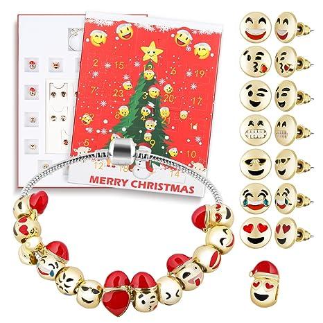 000382125 Amazon.com: D-FantiX Christmas Countdown Calendar Women Girls Jewelry  Advent Calendar 2018 DIY 24 Days Charms with Bracelet Emoji Beads Ear Studs  Set: ...