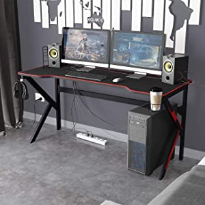 DlandHome 63 inches Gaming Desk w/All Covered Mouse Pad/USB Charge Rack/Headphone Holder/Cup Holder Multifunction Computer Desk/Gaming Table, LJ-1909