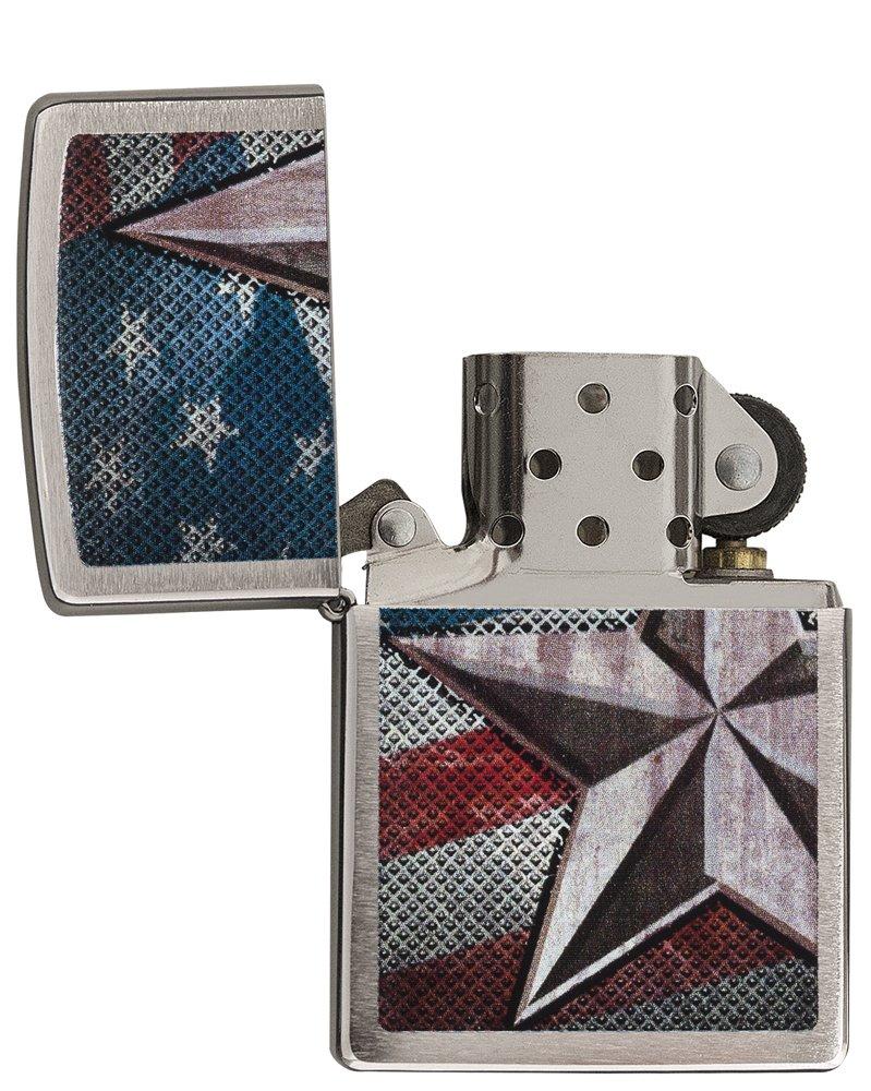 Zippo American Flag Star Pocket Lighter, Brushed Chrome by Zippo (Image #4)