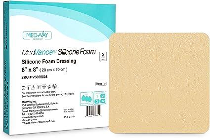 MedVancTM Silicona: apósito absorbente de espuma adhesiva de silicona, 20 cm x 20 cm, caja de 5 apósitos: Amazon.es: Salud y cuidado personal