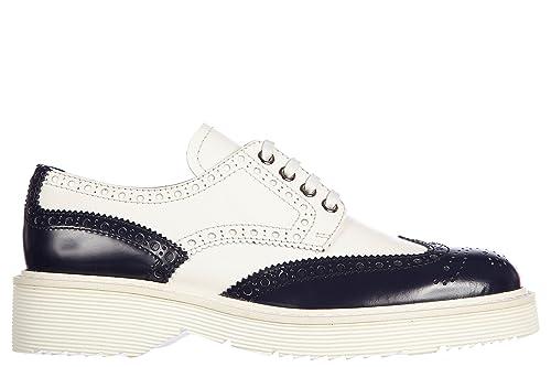 6a591b00d3df99 Prada Damenschuhe Leder Damen Business Schuhe Schnürschuhe derby bicolor  Weiß EU 37 3E5739 AZ3 F0216