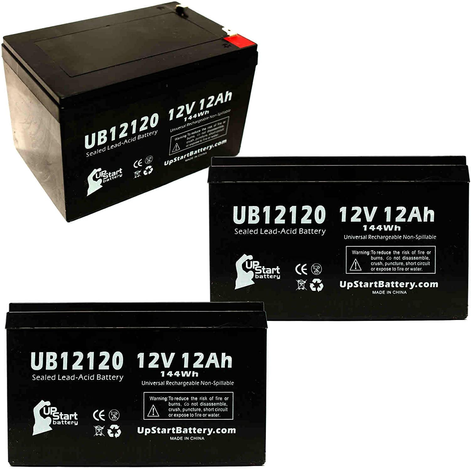 3 Pack Replacement for Enduring 6-DW-12 Battery - Replacement UB12120 Universal Sealed Lead Acid Battery (12V, 12Ah, 12000mAh, F1 Terminal, AGM, SLA) - Includes 6 F1 to F2 Terminal Adapters