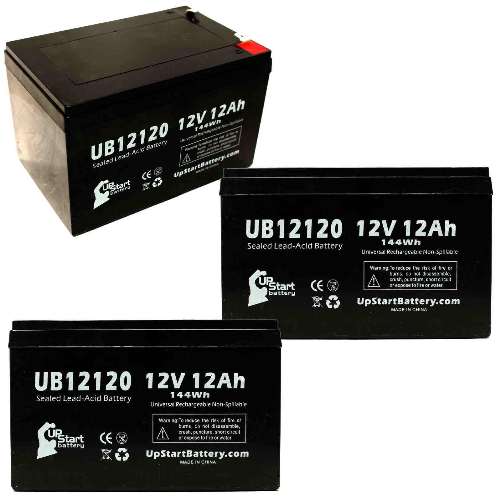 3x Pack - Kung Long WP12-12 Battery - Replacement UB12120 Universal Sealed Lead Acid Battery (12V, 12Ah, 12000mAh, F1 Terminal, AGM, SLA) - Includes 6 F1 to F2 Terminal Adapters