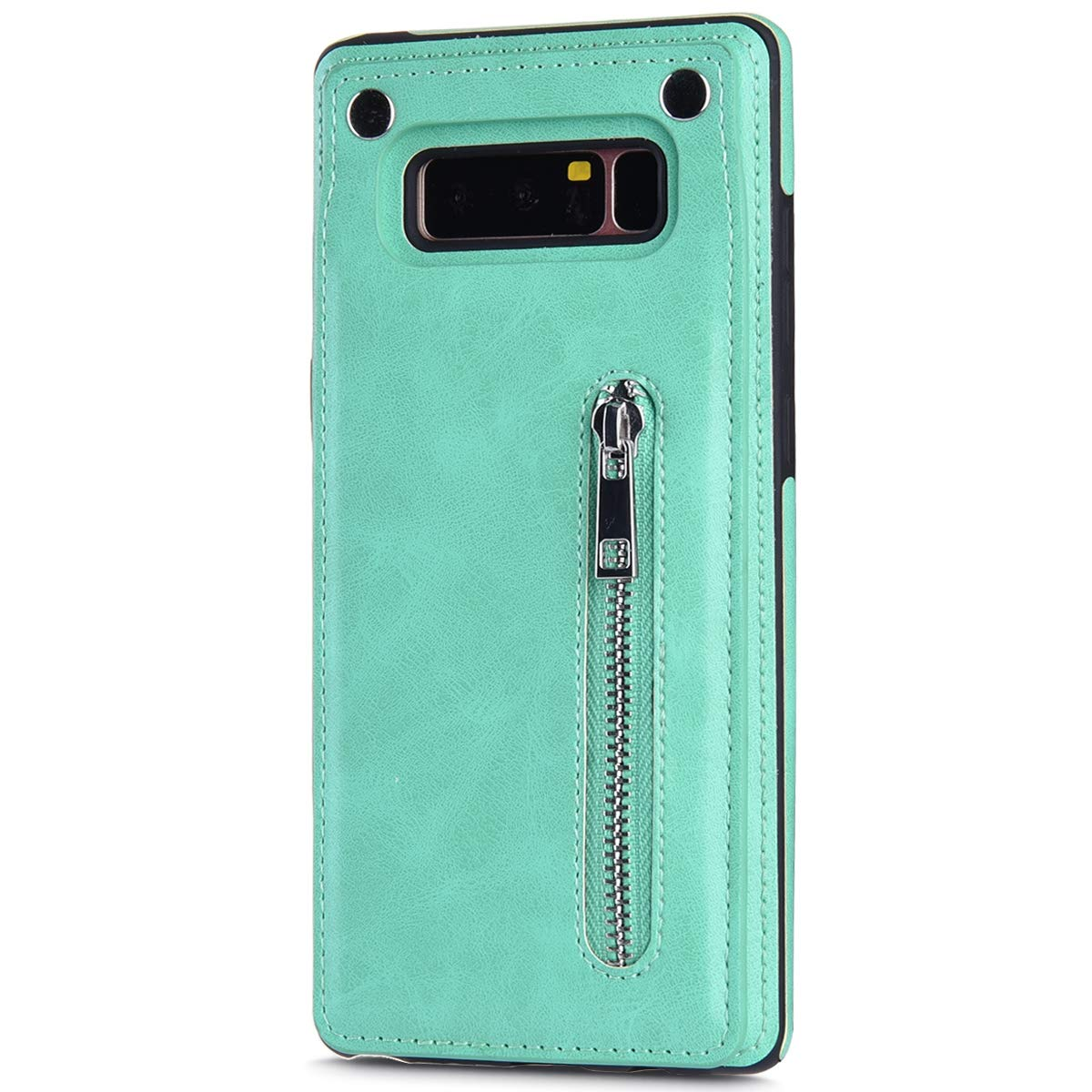 Case for Galaxy Note 8 Flip Case Premium PU Leather Wallet Cover with Card Holder Money Pocket Durable Shockproof Protective Cover for Galaxy Note 8,Mint Green by ikasus