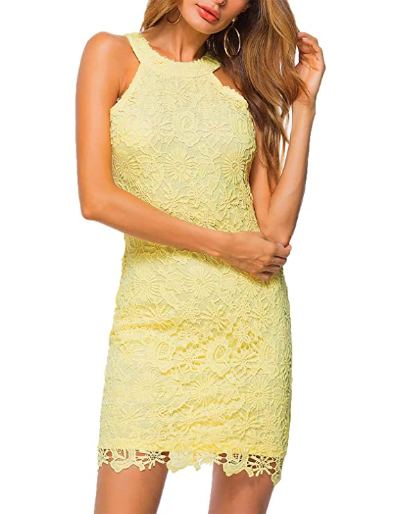 What dress to wear as a wedding guest: sleeveless halter neck party lace mini dress