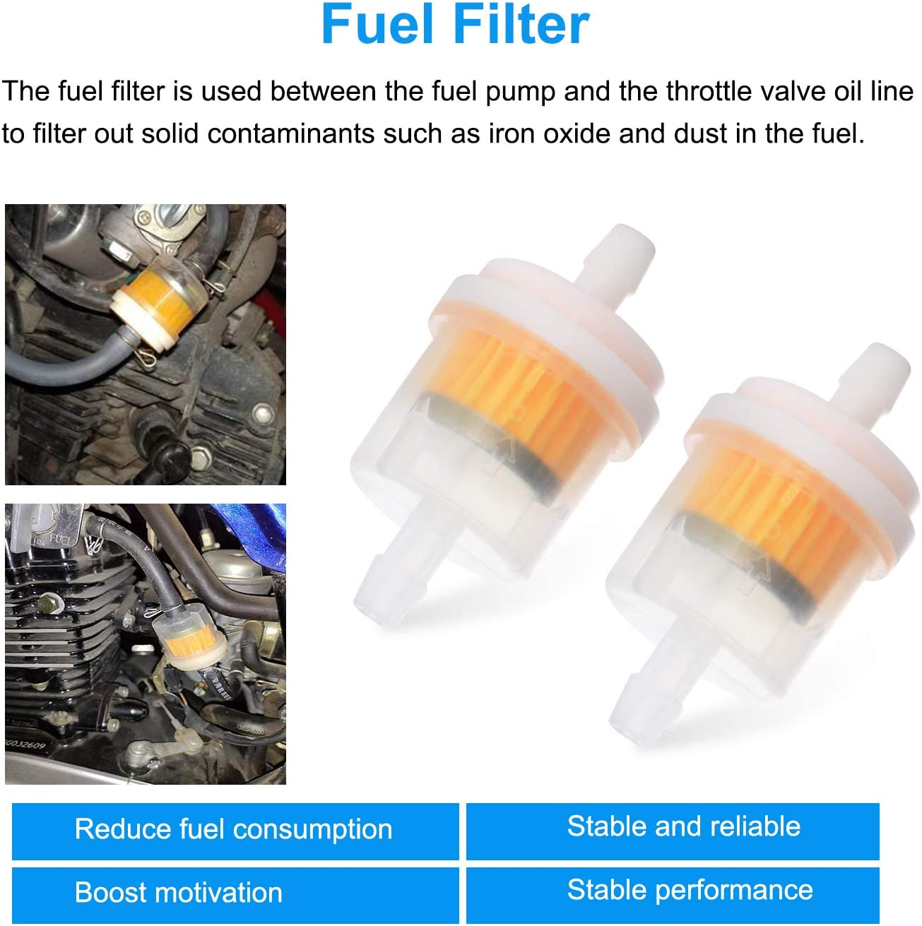 Gas Inline Fuel Filters Pack of 12 WiMas Fuel Filter Motorcycle Petrol Filters Gasoline Filter for 6mm Fuel Hose