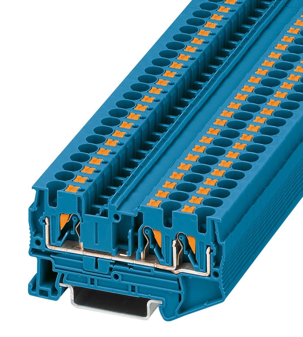 Bloc de jonction simple 1 é tage 3 conducteurs Phoenix Contact PIT 4-TWIN BU 3211775