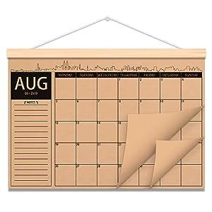 Rustic Wooden Kraft Paper Hanger 2019-2020 Monthly Desk or Wall Calendar Planner 18 Month Calendar with Scroll Wood Frame