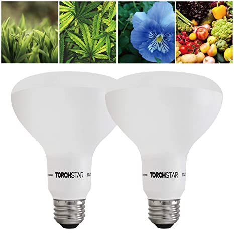 TORCHSTAR Grow Light Bulb, 10W BR30 Dimmable LED Plant Light UL-Listed for  Indoor Planting, Gardening, Green House, 120° Flood Light, 2 Pack