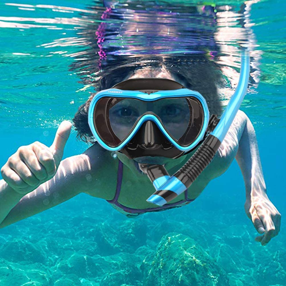Easy Breathing Anti-Leak Dry Top Snorkel Professional Snorkeling Set for Adult Youth TAKEBEST Snorkel Set Anti-Fog Snorkel Diving Mask Panoramic Wide View Tempered Glass