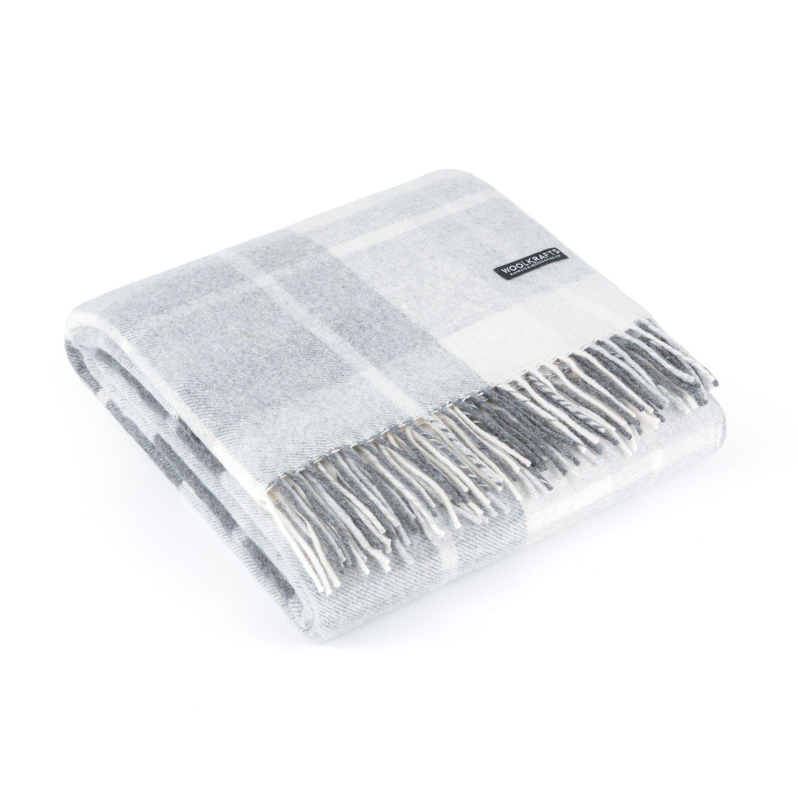 Bestwool Cashmere Wool Throw Blanket Plaid - Grey White 55'' x 70'' by Bestwool