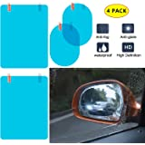MOOKLIN Car Rearview Mirror Protective Film, HD Anti-Fog/Anti-Glare/Anti-Scratch Car Mirror Rainproof Film for All Automobile and Vehicle Models (145 x 100 mm and 160 x 200 mm) -4 Pieces