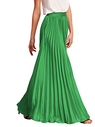 ROMWE Women's Retro Vintage Summer Chiffon Pleat Maxi Long Skirt ...