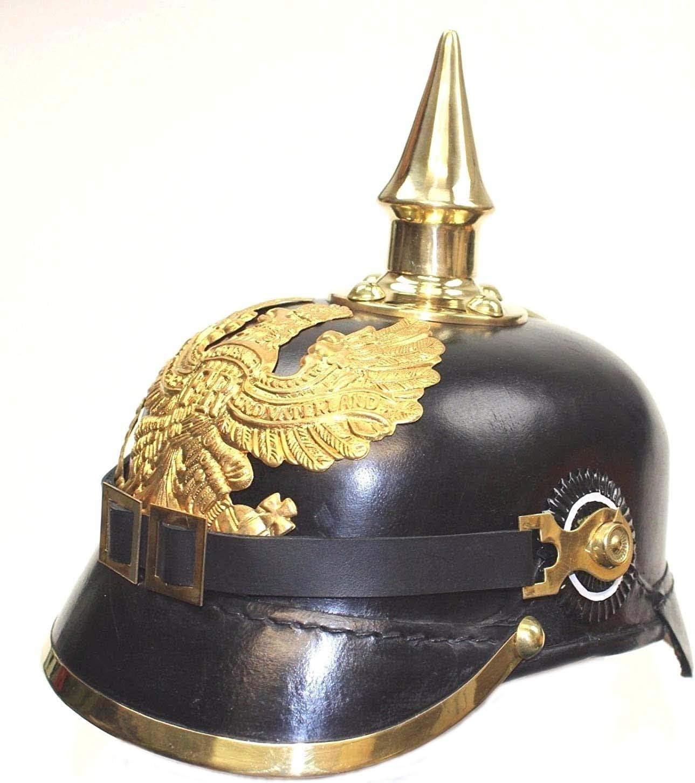 AnNafi - Casco alemán Pickelhaube de cuero para hombre (casco de Pickelhaube)