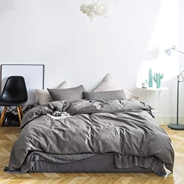 SUSYBAO 3 Pieces Duvet Cover Set 100% Natural Washed Cotton Chambray Grey Queen Size 1 Duvet Cover 2 Pillowcases Luxury Soft Breathable Comfortable Fade Resistant Durable Bedding Set with Zipper Ties