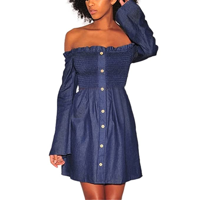 298f6fec5f Italily - Donne Vestito Moda Abito di Jeans Corto Gonna Maniche ...