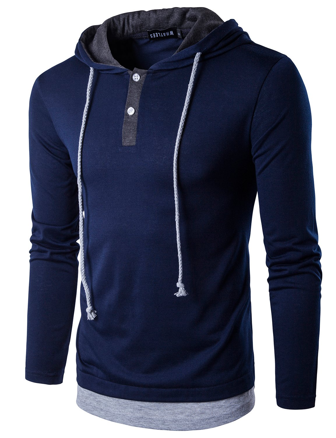 WHATLEES Mens Hipster Slim Fit Long Sleeve Extended Hem Henley T Shirt with Hood T15 Navy Blue Large