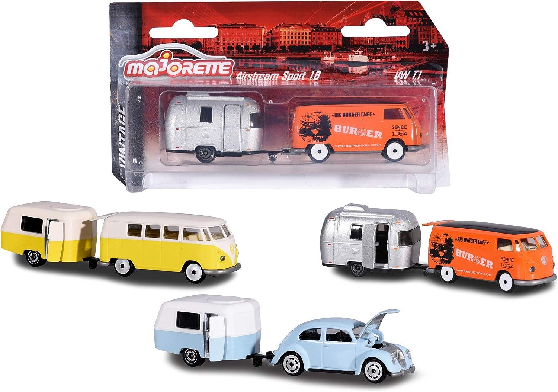 Majorette Vintage Trailer Surtido de vehículos en Miniatura con vehículo y Remolque, Coche de Juguete con Remolque de Metal, 3 Modelos Diferentes, Entrega: 1 Juego Aleatorio de 7,5 cm