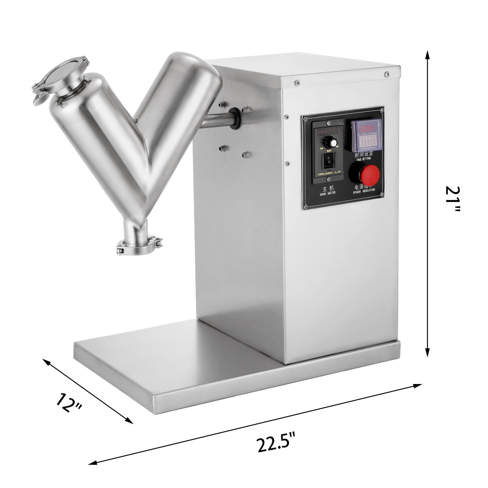 Happybuy 3L Powder Mixer Machine VH-2 Pharmaceutical Powder Mixer Stainless Steel Dry Powder Mixer V-type Powder Mixer Adjustable Laboratory Mixer Hig(3L) by Happybuy (Image #2)