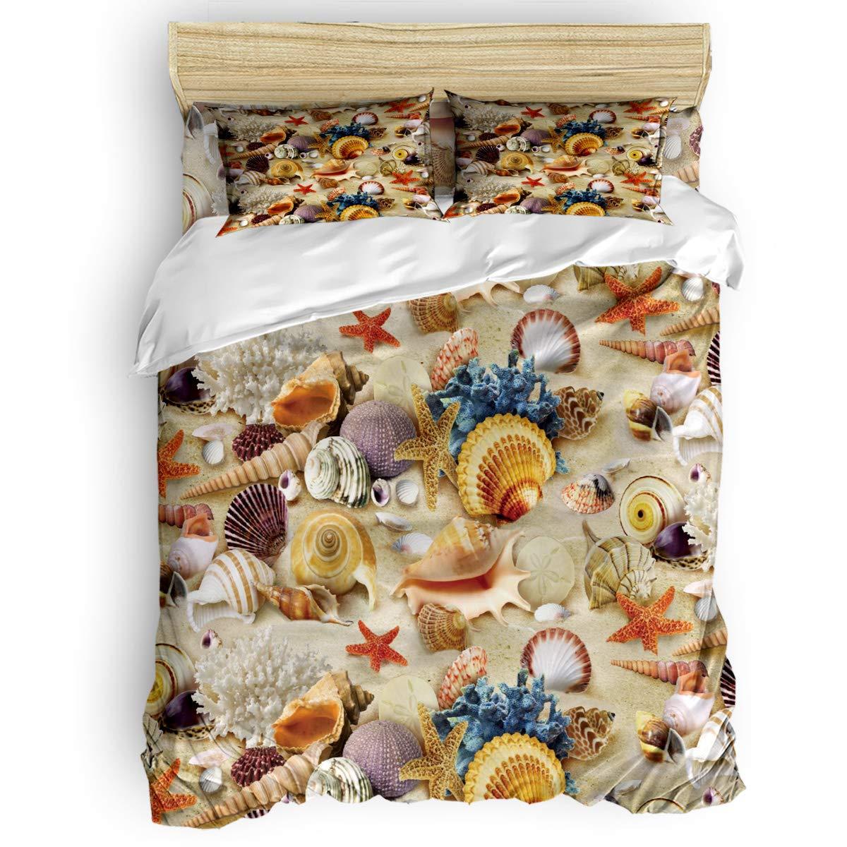 掛け布団カバー 4点セット プール プルメリア 寝具カバーセット ベッド用 べッドシーツ 枕カバー 洋式 和式兼用 布団カバー 肌に優しい 羽毛布団セット 100%ポリエステル セミダブル B07TF8ZZ7T Starfish Beach7LAS1097 セミダブル