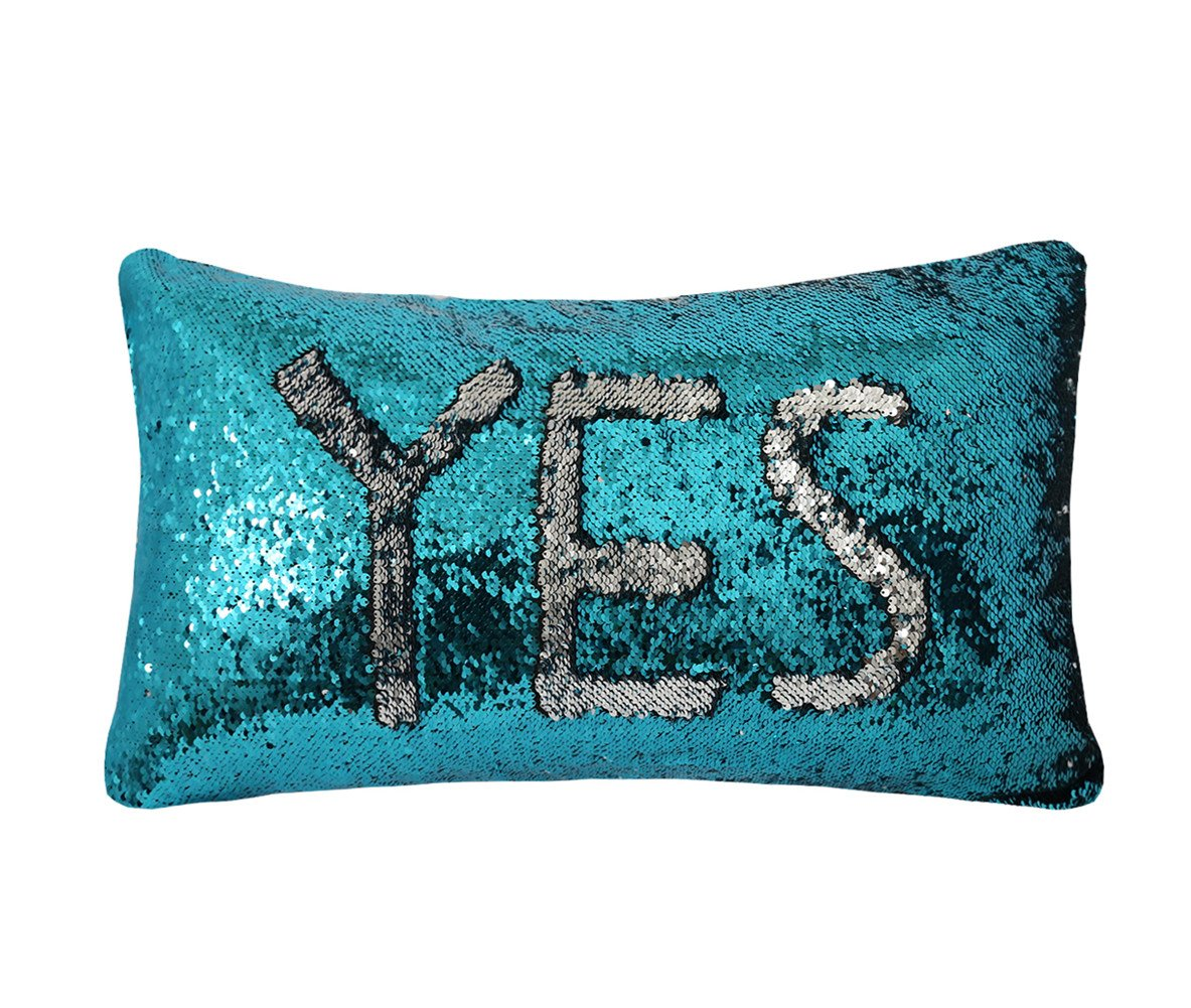 Decorative Cushion Covers Sequin Pillow Case with Insert Aqua and Silver