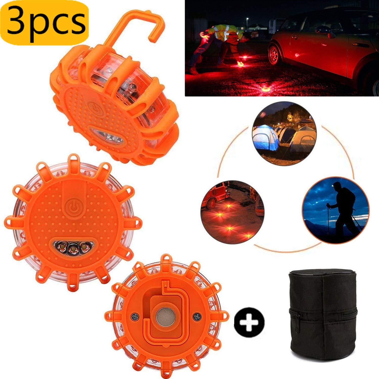 Mioke 3pcs LED Lampeggiante a led luci stroboscopiche 12V / 24V base magnetica per veicolo auto, luce di emergenza con la borsa (arancione)