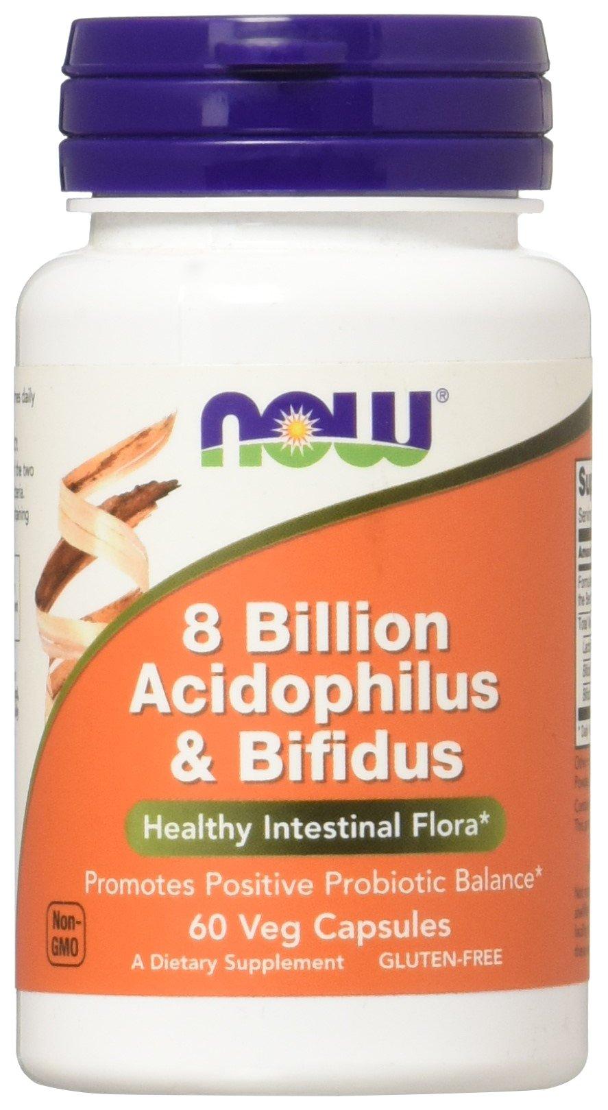 NOW Foods Acidophilus & Bifidus 8 Billion VCaps, 60 ct