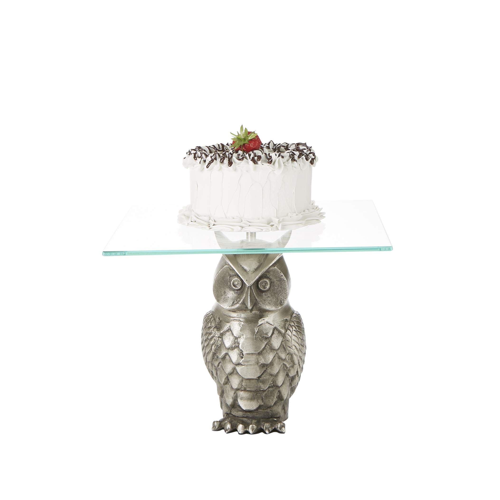 Mind Reader OWLCAKE-SIL Owl, Party Cake, Cupcake Holder, Tree Tower Stand, Tiered Serving Dessert Display Tray, Silver, One Size,