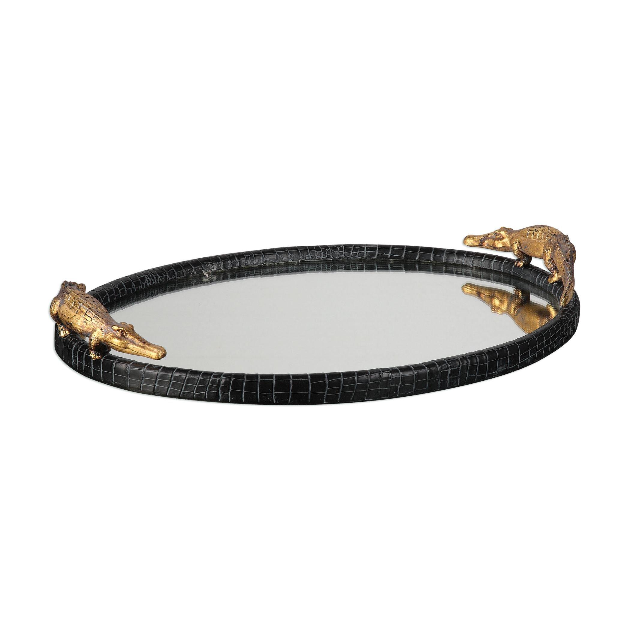Alligator Crocodile Bar Serving Tray | Decorative Handles Round Mirrored Croc Reptile