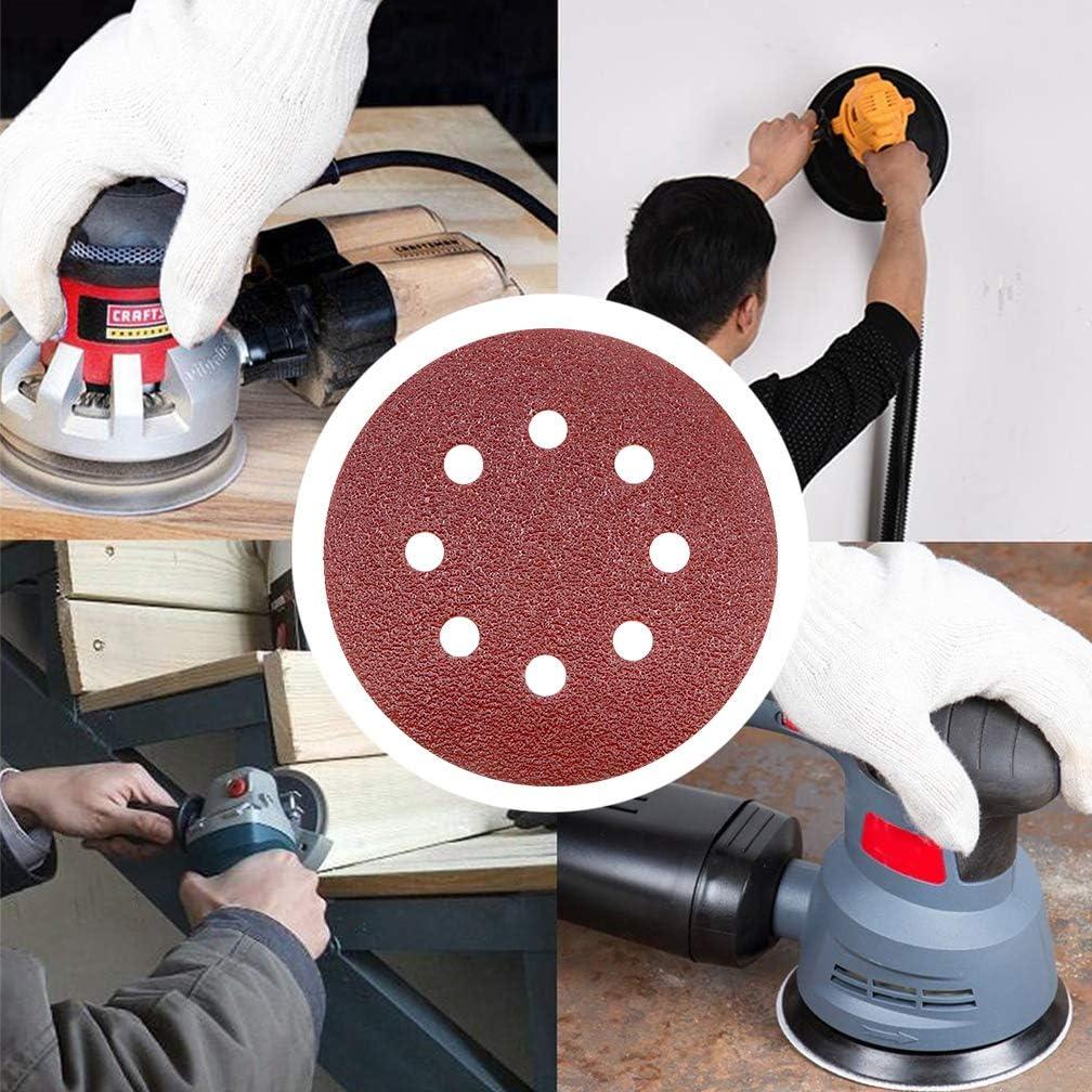 Maveek 50 discos de lija de 8 agujeros de grano 40 de 5 pulgadas surtido de lija de gancho y bucle para lijadora orbital aleatoria