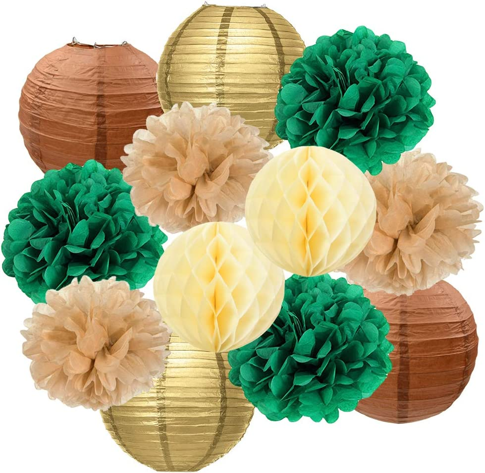 HappyField Woodland Animals Birthday Party Decorations Woodland Animals Baby Shower Decorations for Boy or Girl Rustic Gold Green Tan Brown Tissue Poms Paper Lanterns Gender Neutral Baby Shower Decor