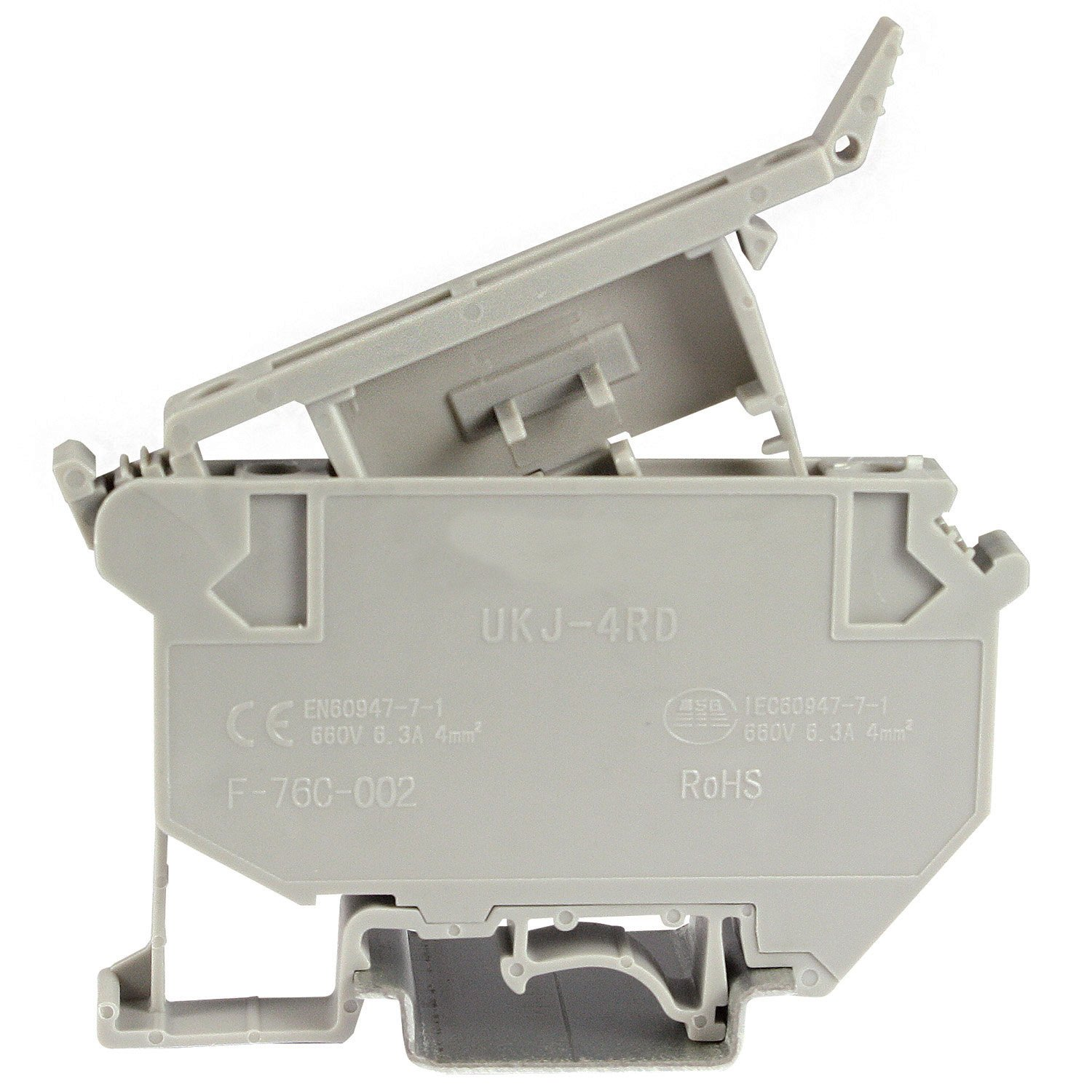 ASI ASIUK5HESI DIN Rail Fuse Disconnect Terminal Block, Screw Clamp, 5 mm x 20 mm, 8 mm Wide, 12 Amp, 600V, 26 AWG to 10 AWG (Pack of 50)