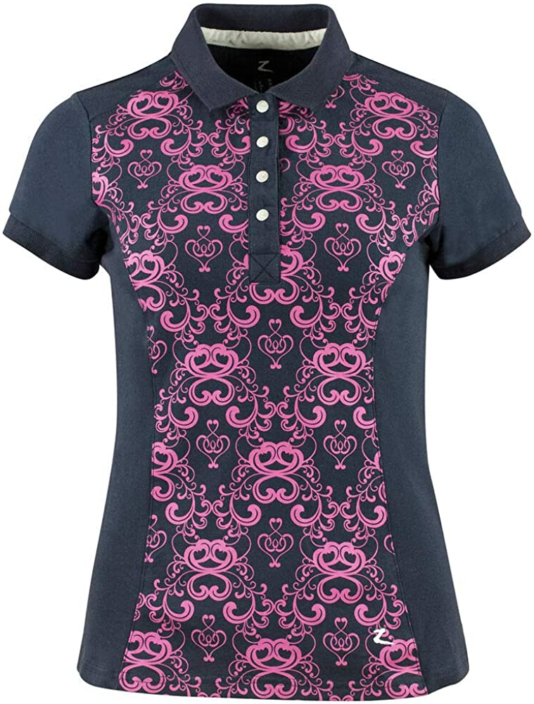 Horze Natalie Womens Stretch Scroll Style Print Polo Shirt Dark Navy//Cactus Flower 10