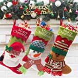 CHFUN Christmas Stockings,20'' Set of 3 Classic Plush 3D Santa Snowman Reindeer Large Xmas Stocking Kits Party Decoration