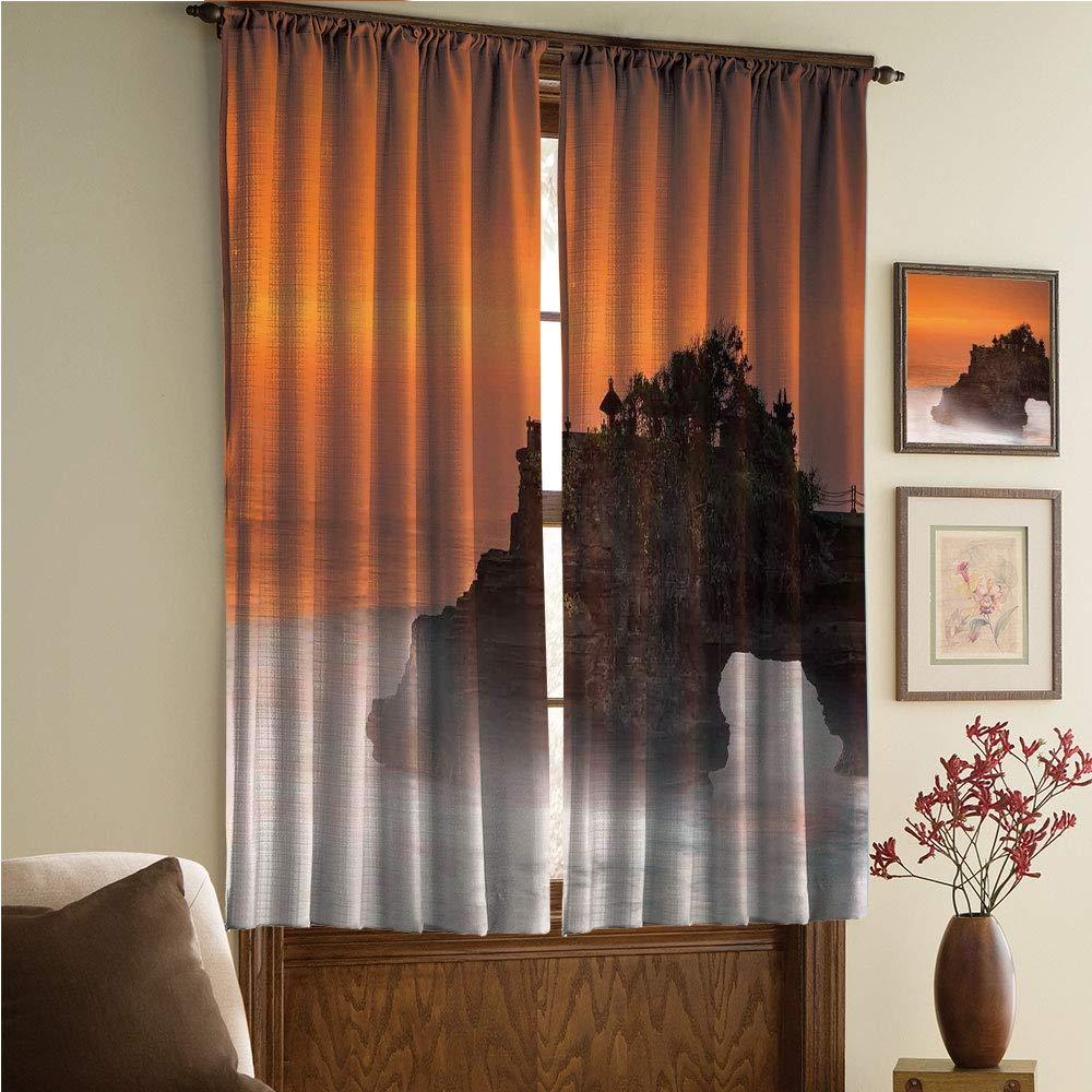 whitepurplecassie curtain Satin Silk Curtains Panels Suitable Fornursery,Bedroom,Living Room,Kitchen Cafe,Sheer Curtains,Reduce noisel,Lot Bali Indonesia Magical Romantic Sunset Exotic 108Wx63L Inch