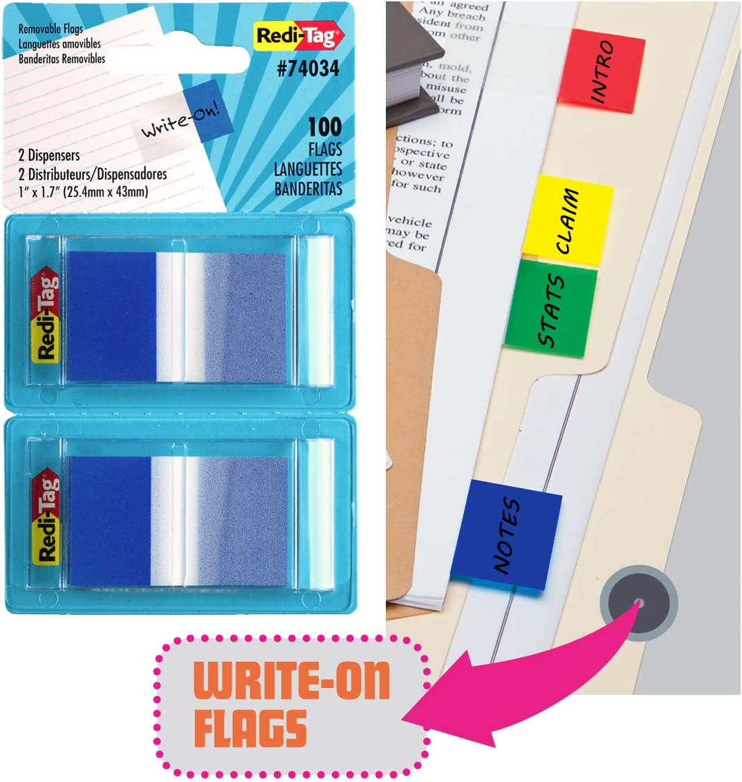 2 Dispensers Per Pack 100 Total 1 X 1.7-Inch Red-74024 Redi-Tag-Pop-Up Page Flags