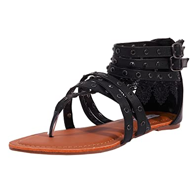 31dd9604acca8 SheSole Women s Black Summer Flat Gladiator Sandals Lace Thong Beach  Wedding Shoes US Size 6