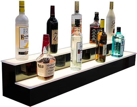 Black//Translucent//Mirror 34-inch 2 Tier Bar Display Liquor Bottle Shelf