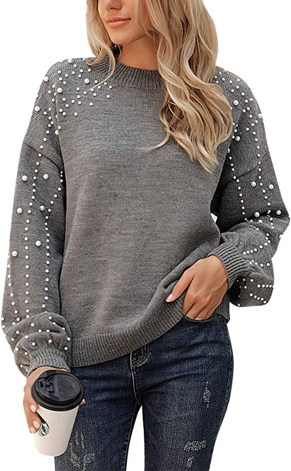 Blooming Jelly Women's Chunky Sweater Crewneck Sweatshirt Knit Lantern Sleeve Oversized Pullover Sweater with Pearls