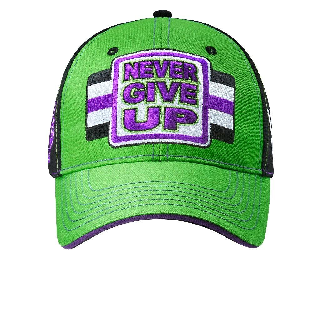online retailer 1b92f 7c7eb WWE John Cena Green Purple Never Give Up Baseball Cap Hat  Amazon.co.uk   Clothing
