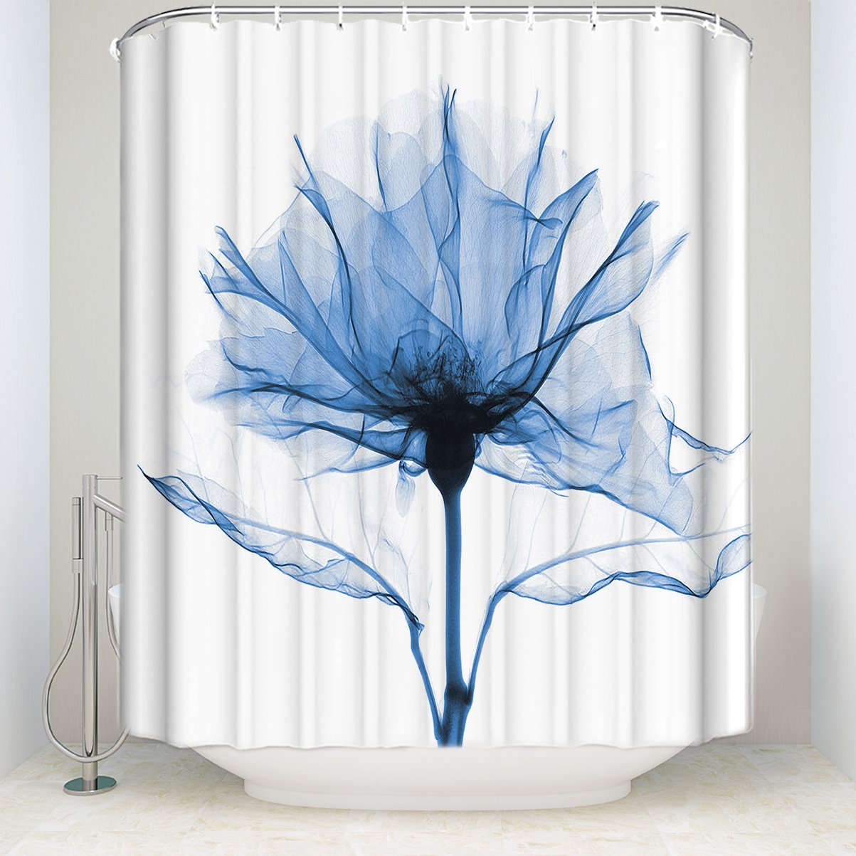 Chic D Blue Rose Flowers Florals Extra Long Hookless Shower Curtain Bathroom Polyester Fabric Bath Curtains72 X 78 Large Size Trio Ray Themed