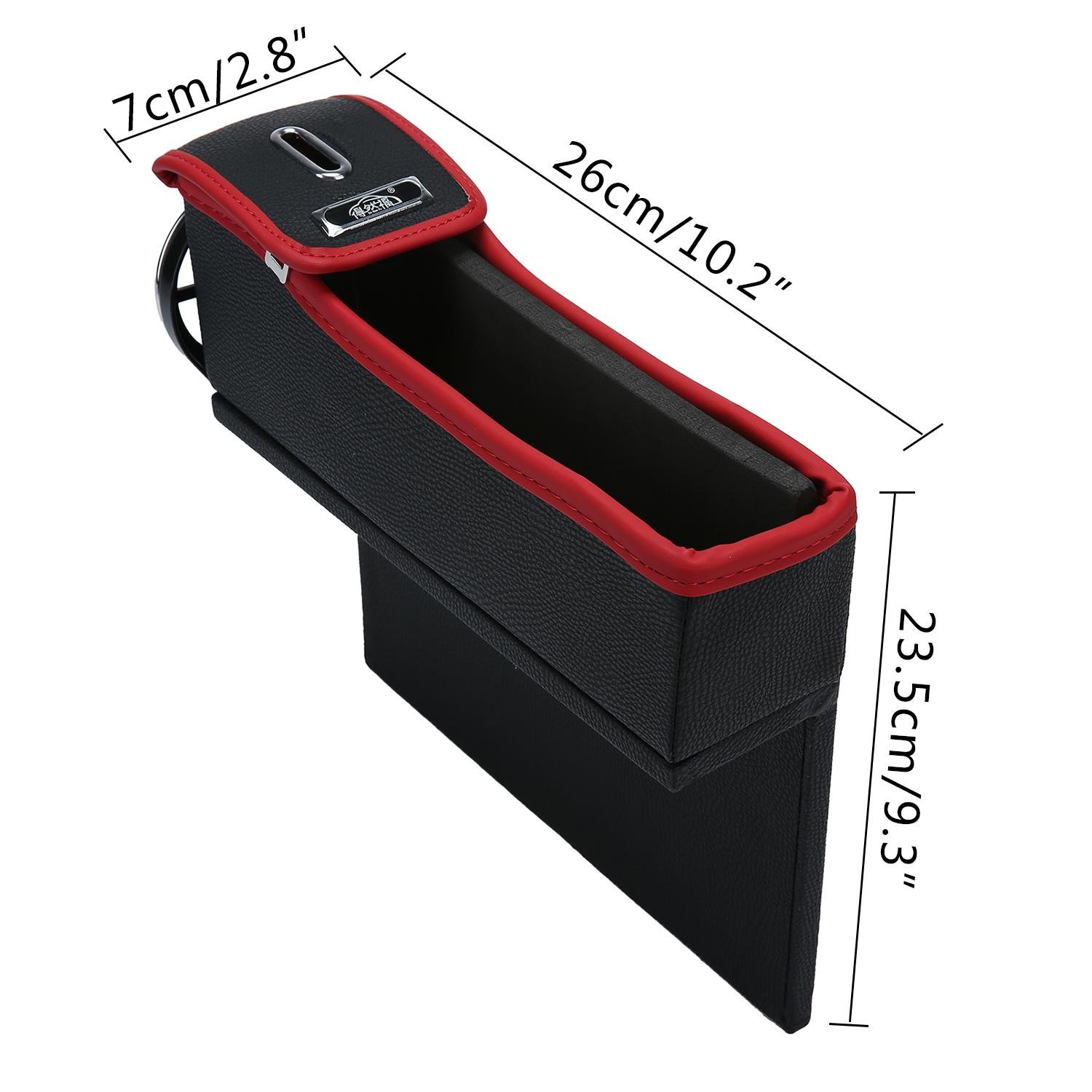 Console Side Pocket Leather Car Seat Gap Catcher with Coin Organizer and Cup Holder TM Black and Red Right niceEshop 1Pcs