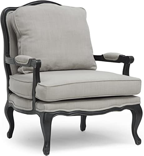 Baxton Studio Antoinette Classic Antiqued French Accent Chair, 39.75 x 33.75 x 31 , Beige