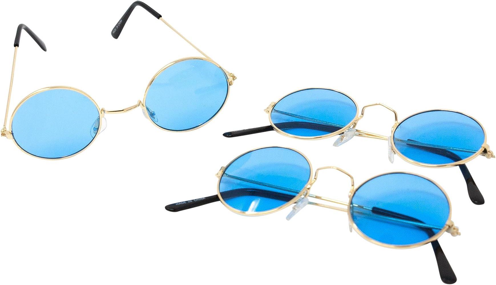 1960/'S HIPPIE SPECS BLUE LENNON ROUND FRAMED GLASSES