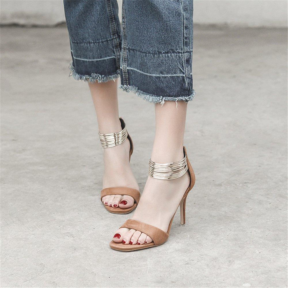 355dfdf5f ... eleganceoo Women s Open Toe Toe Toe Metal Ankle Strap Stiletto High  Heel Sandal Comfortable Shoes 39