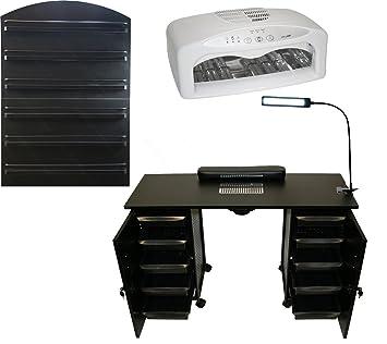 Amazon.com: LCL Belleza Deluxe Vented negro mesa de manicura ...