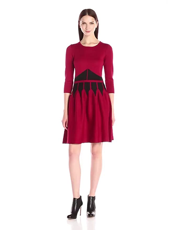 b0f29050c8c Taylor Dresses Women s 3 4 Sleeve Color Block Fit and Flare Sweater Dress