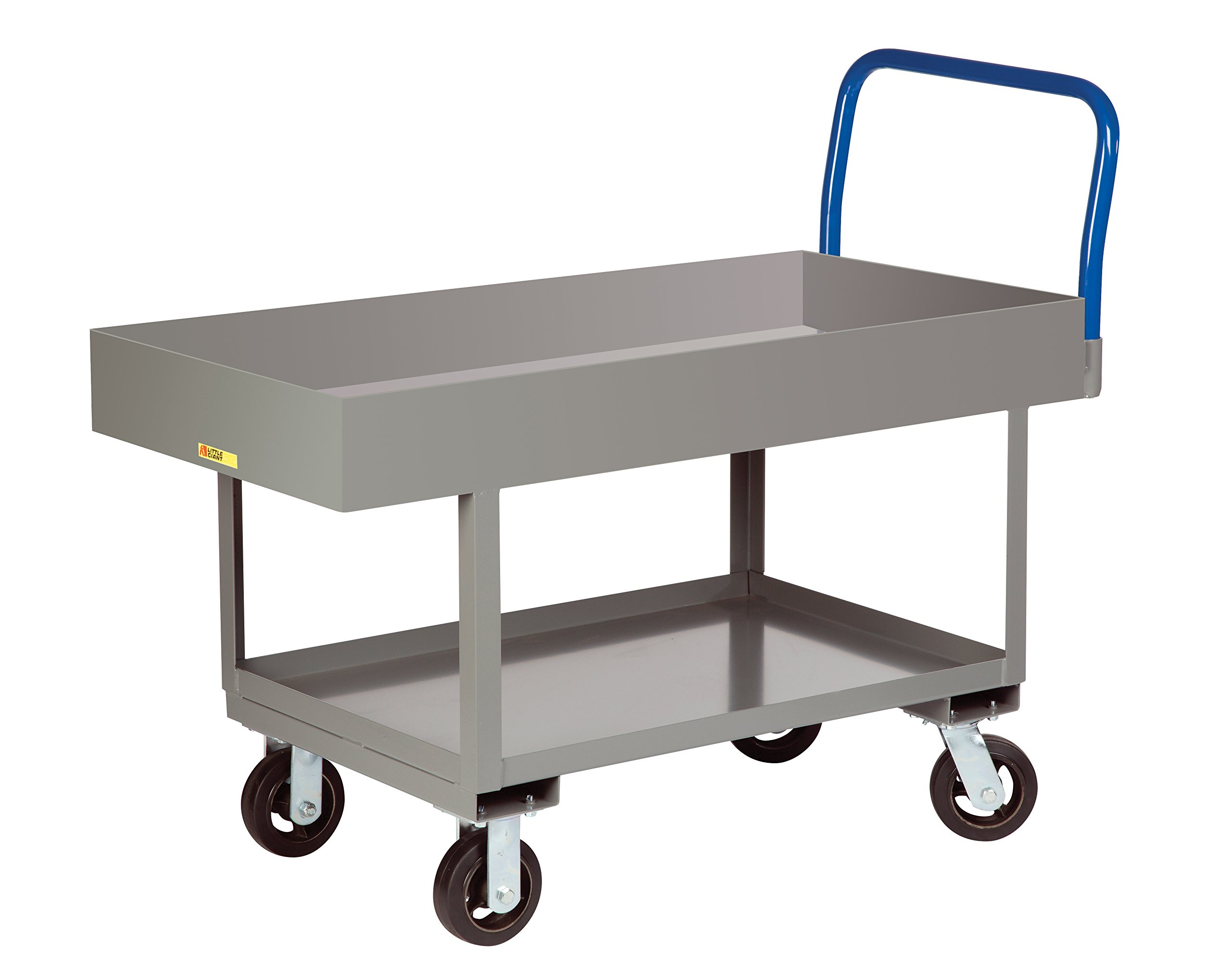 Little Giant RNL2X6-2460-6MR Work-Height Platform Truck with Lower Shelf, 2000 lb. Capacity, 6'' Mold-On Rubber Wheels, 6'' Deep Lipped Top, Fixed Height, 24'' Width x 60'' Length, Gray