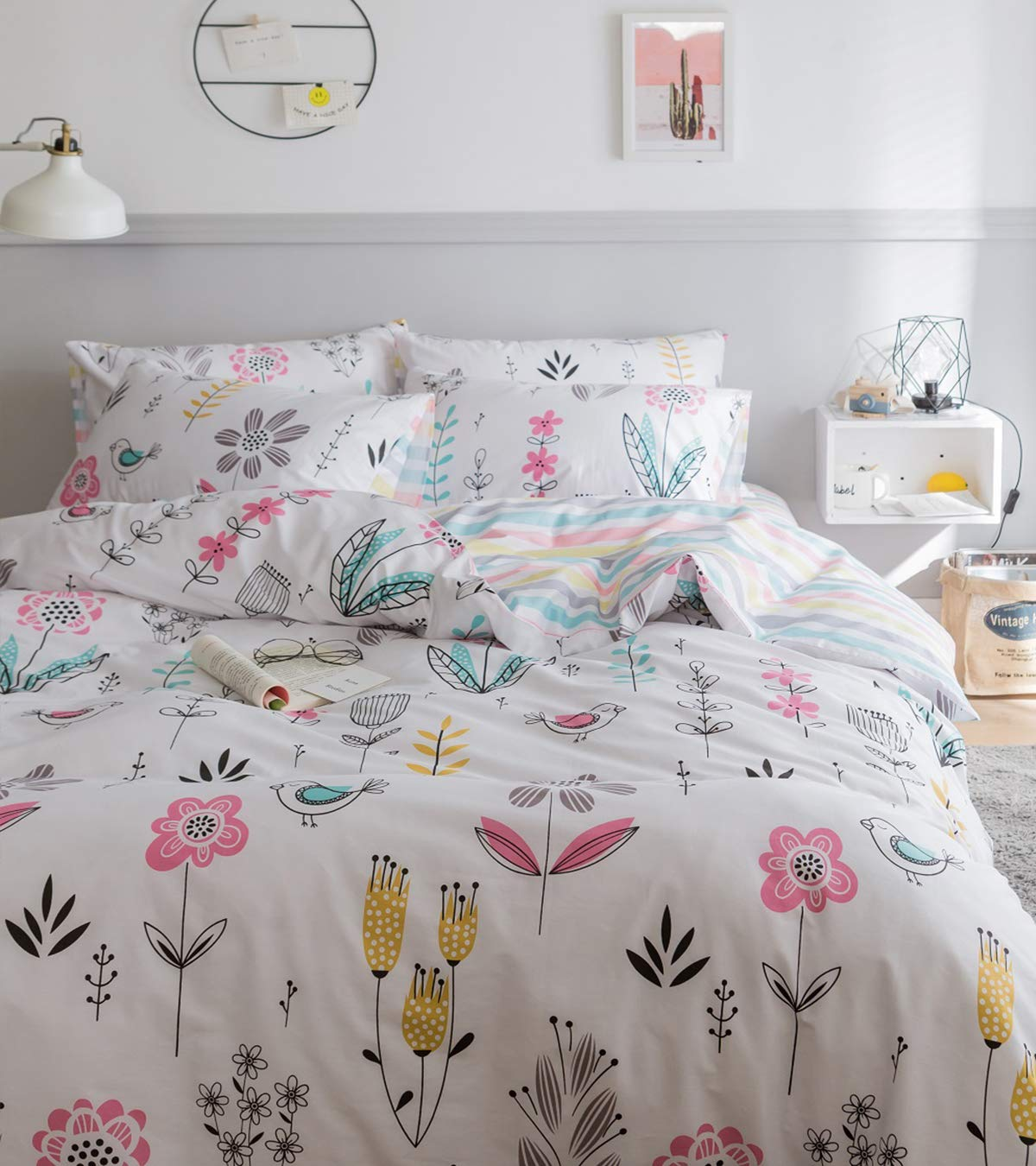 Jane yre Queen Floral Duvet Cover Set Cotton,Botanical Flower Branches Fresh Style Design,Girls Reversible Striped Bedding Set for All Season 3 Pieces with Zipper Closure 2 Pillow Shams(NO Comforter)